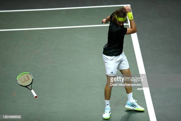 Stefanos Tsitsipas of Greece throws his racquet in his match against Egor Gerasimov of Belarus during Day 2 of the 48th ABN AMRO World Tennis...