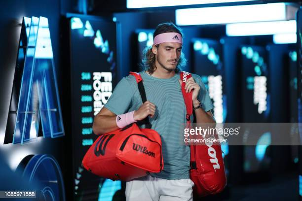 Stefanos Tsitsipas of Greece walks onto court in his quarter final match against Roberto Bautista Agut of Spain during day nine of the 2019...