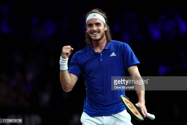 Stefanos Tsitsipas of Team Europe celebrates match point in his singles match against Taylor Fritz of Team World during Day One of the Laver Cup 2019...