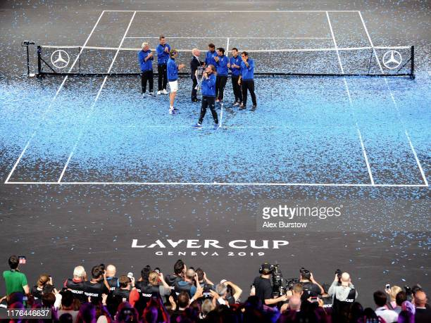 Stefanos Tsitsipas of Team Europe lifts the Laver Cup trophy after winning the Laver Cup in the final match of the tournament during Day Three of the...