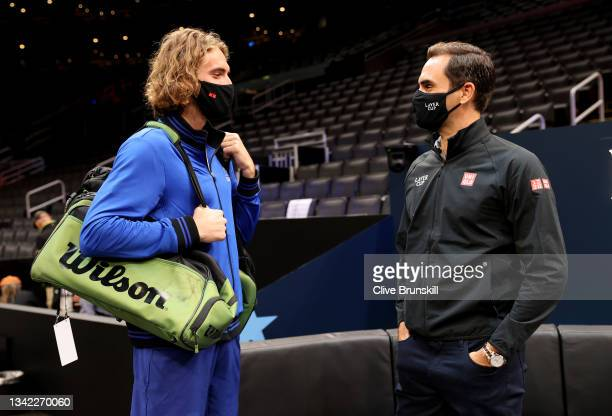 Stefanos Tsitsipas of Team Europe meets with Roger Federer who will be supporting Team Europe over the next three days at TD Garden on September 24,...