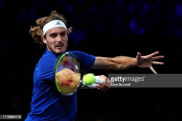 Stefanos Tsitsipas of Team Europe plays a forehand in his singles match against Taylor Fritz of Team World during Day One of the Laver Cup 2019 at...
