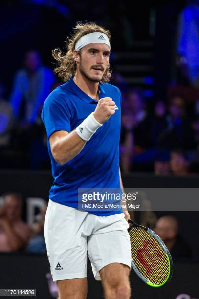 Stefanos Tsitsipas of Team Europe reacts after a point during Day 3 of the Laver Cup 2019 at Palexpo on September 22 2019 in Geneva Switzerland The...
