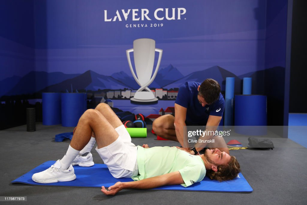 Stefanos Tsitsipas Of Team Europe Stretches With A Trainer Prior To A News Photo Getty Images