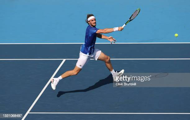Stefanos Tsitsipas of Team Greece plays a forehand during his Men's Singles Third Round match against Ugo Humbert of Team France on day five of the...