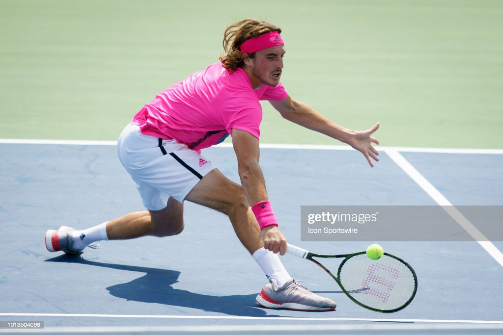 Stefanos Tsitsipas (GRE) returns the ball during his first round match of the Rogers Cup tennis tournament on August 6, 2018, at Aviva Centre in Toronto, ON, Canada.