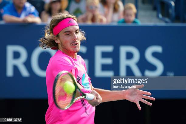 Stefanos Tsitsipas returns the ball during the Rogers Cup tennis tournament Final on August 12 at Aviva Centre in Toronto ON Canada