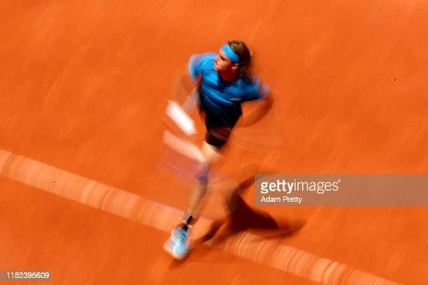 Stefanos Tsitsipas serves during his mens singles second round match against Hugo Dellien of Bolivia during Day four of the 2019 French Open at...