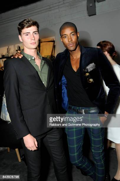 StefanPierre Tomlin and guest attend Etihad Airways Celebrating Runway To Runway With Special Guest Julien MacDonald Obe at Skylight Clarkson Sq on...