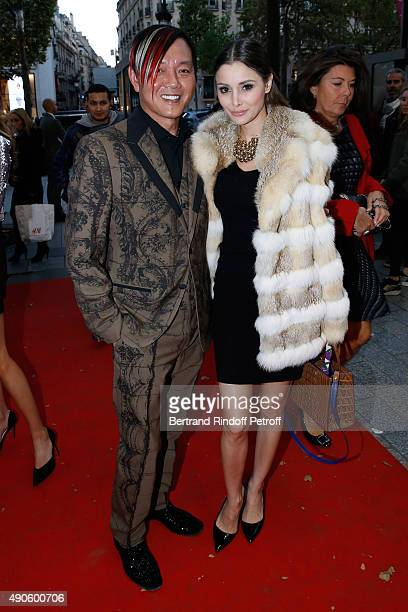 Stefen Hung and his wife Deborah ValdezHung attend the 'Le nouveau Stagiare' movie Premiere to Benefit 'Claude Pompidou Foundation' held at Cinema...