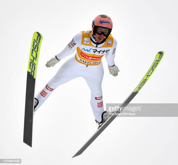 Stefen Kraft of Austria competes on day two of the FIS Ski Jumping World Cup Sapporo at Okurayama Jump Stadium on February 2 2020 in Sapporo Hokkaido...