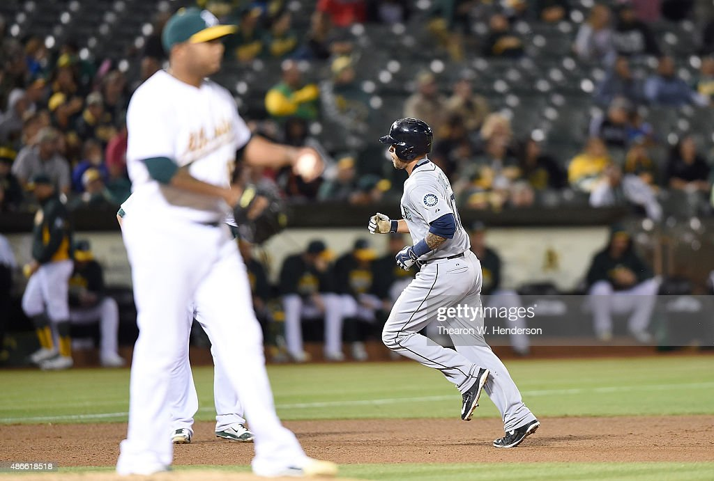 Stefen Romero #17 of the Seattle Mariners trots around the bases after hitting a two-run homer off of Fernando Abad #56 of the Oakland Athletics in the top of th fourth inning at O.co Coliseum on September 4, 2015 in Oakland, California.