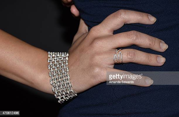 """Steff Alyce, jewelry detail, arrives at the Los Angeles premiere of """"See You In Valhalla"""" at the ArcLight Cinemas on April 21, 2015 in Hollywood,..."""