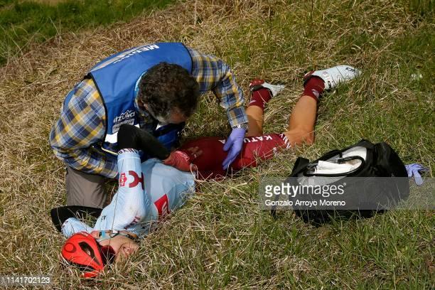 Steff Cras of Belgium and Team Katusha Alpecin / Crash / Injury / Doctor / during the 59th ItzuliaVuelta Ciclista Pais Vasco 2019 Stage 3 a 1914 km...