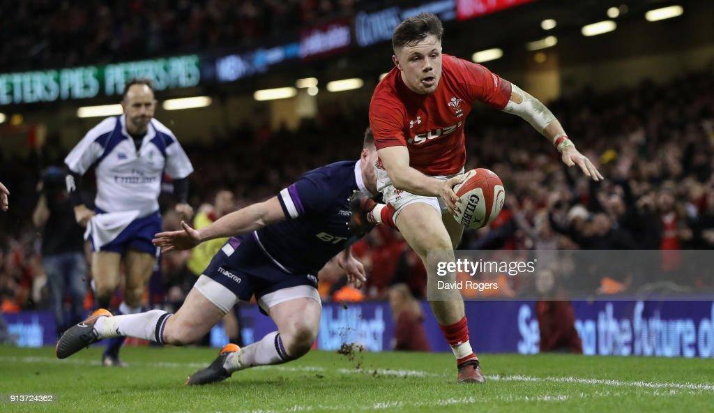 Steff Evan of Wales dives over for a second half try during the NatWest Six Nations match between Wales and Scotland at the Principality Stadium on February 3, 2018 in Cardiff, Wales.