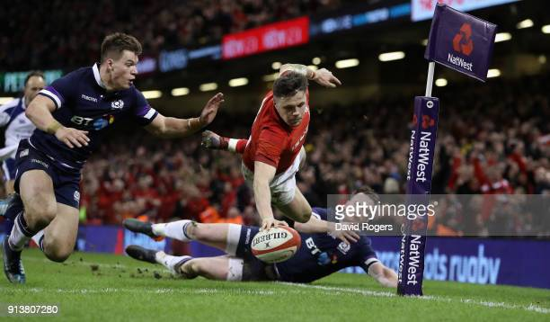 Steff Evans of Wales dives over for a second half try during the NatWest Six Nations match between Wales and Scotland at the Principality Stadium on...