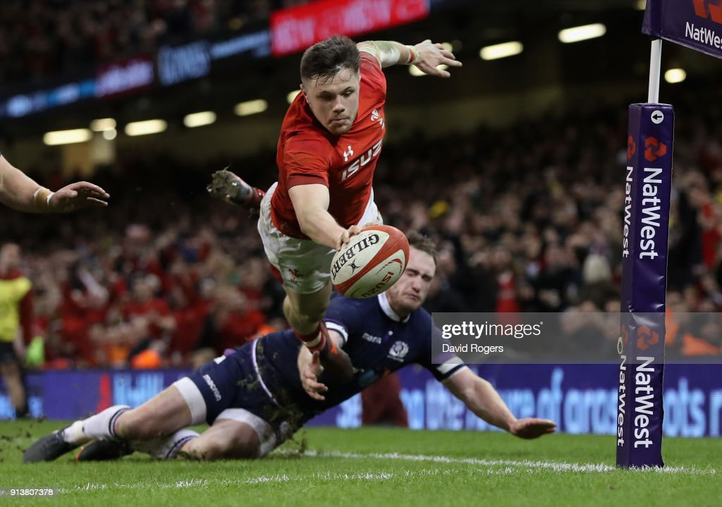 Steff Evans of Wales dives over for a second half try during the NatWest Six Nations match between Wales and Scotland at the Principality Stadium on February 3, 2018 in Cardiff, Wales.