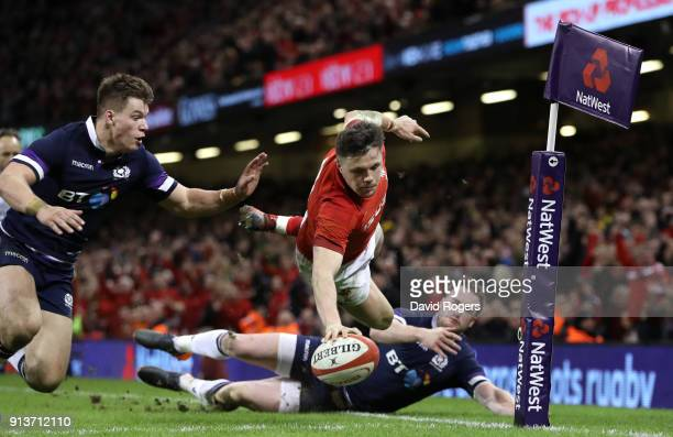 Steff Evans of Wales runs in the fourth and bonus point try during the Natwest Six Nations round One match between Wales and Scotland at Principality...