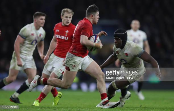 Steff Evans of Wales takes on Maro Itoje during the NatWest Six Nations match between England and Wales at Twickenham Stadium on February 10 2018 in...
