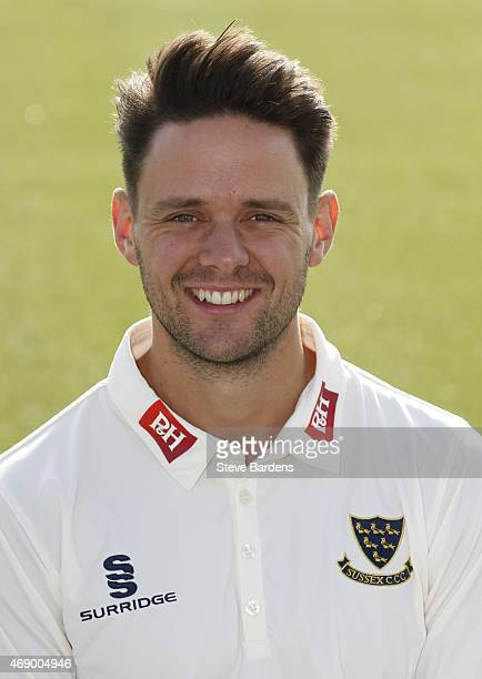 Steffan Piolet during the Sussex County Cricket Photocall at BrightonandHoveJobs.com County Ground on April 9, 2015 in Hove, England.