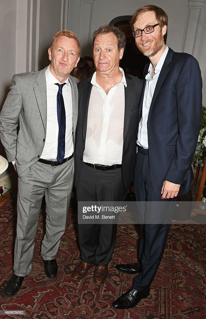 Steffan Rhodri, playwright Richard Bean and Stephen Merchant attend an after party following the press night performance of 'The Mentalists' at Kettner's on July 13, 2015 in London, England.