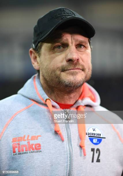 Steffen Baumgart head coach of Bielefeld looks on during the DFB Pokal quater final match between SC Paderborn and Bayern Muenchen at Benteler Arena...