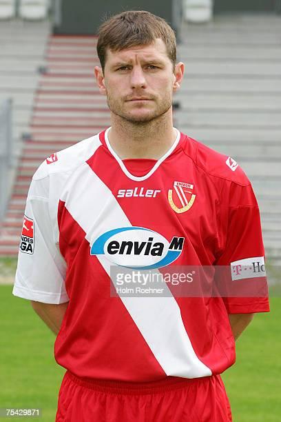 Steffen Baumgart poses during the Bundesliga 2nd Team Presentation of FC Energie Cottbus on July 13 2007 in Jena Germany