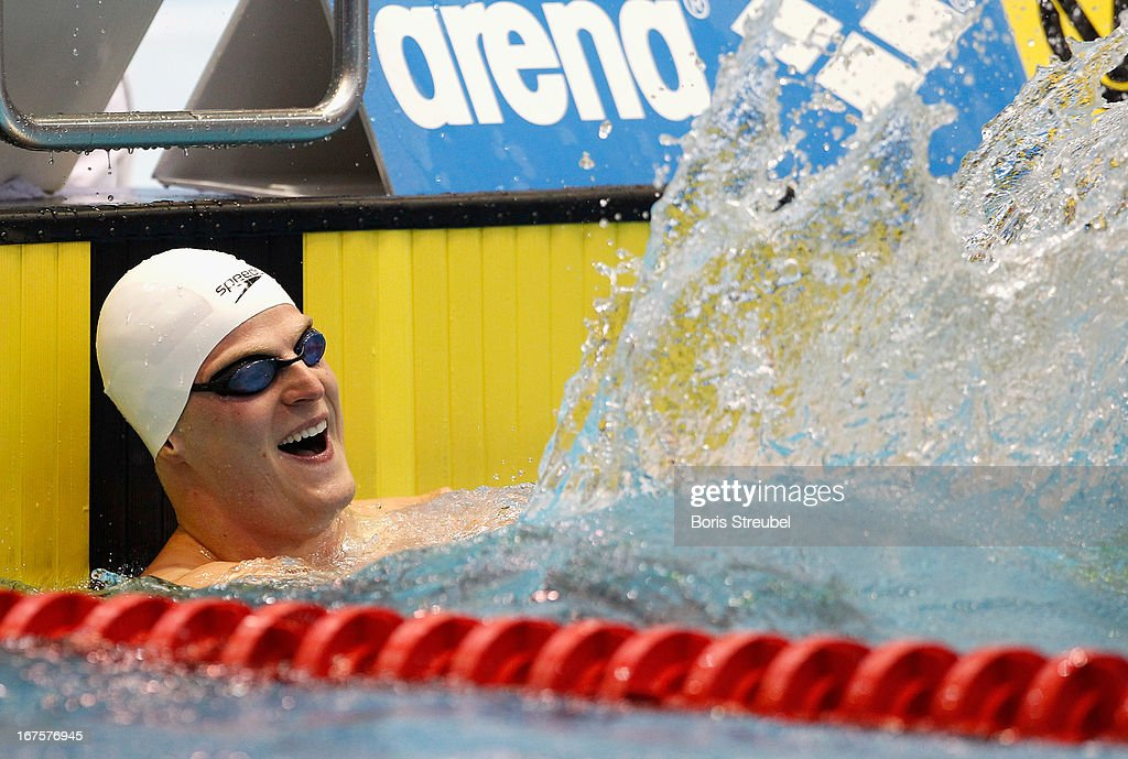 Steffen Deibler of Hamburger SC reacts after winning the men's 50m butterfly A final day one of the German Swimming Championship 2013 at the Eurosportpark on April 26, 2013 in Berlin, Germany.