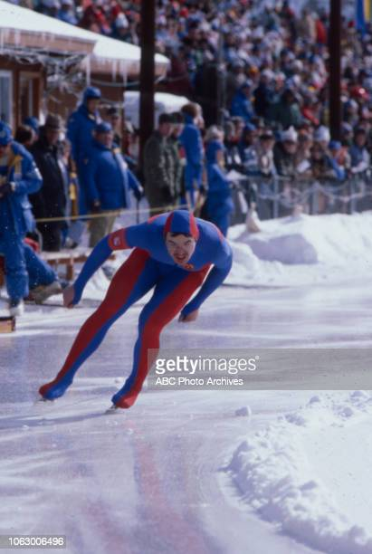 Steffen Doering competing in the Men's 500 metres speed skating event at the 1980 Winter Olympics / XIII Olympic Winter Games James B Sheffield...