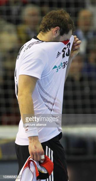 Steffen Faeth of Germany reacts after the men's Handball World Championships quarterfinal match Spain vs Germany in Saragossa Spain 23 January 2013...