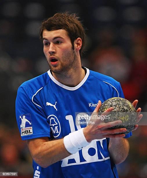 Steffen Faeth of Gummersbach in action during the Toyota Handball Bundesliga game between VfL Gummersbach and Rhein Neckar Loewen at Lanxess Arena on...