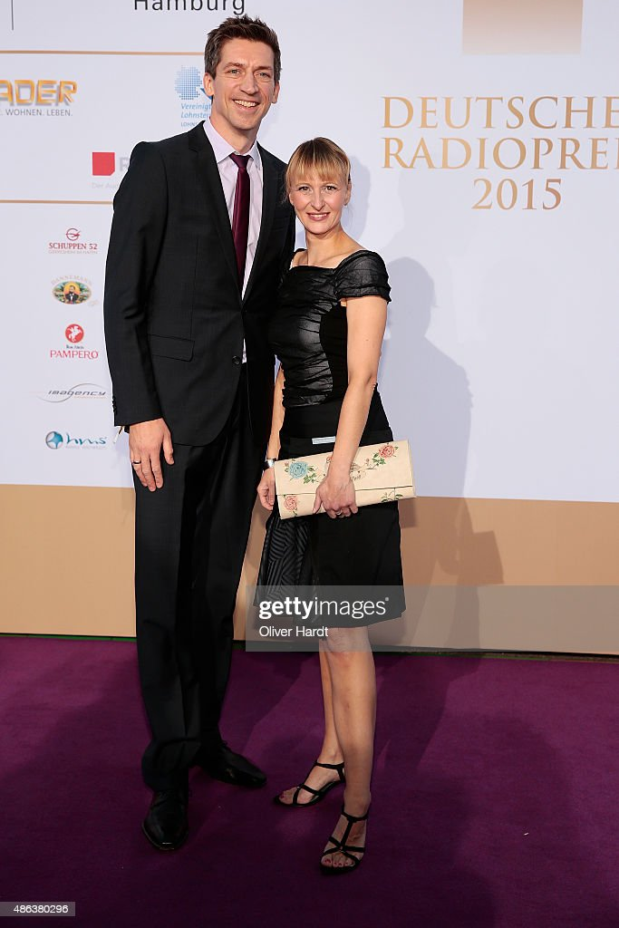 Steffen Hallaschka and his wife poses during the Deutscher Radiopreis 2015 at Schuppen 52 on September 3, 2015 in Hamburg, Germany.
