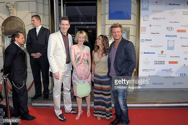 Steffen Hallaschka AnneKatrin Hallaschka Christina Plate and Oliver Geissen attend charity event Das kleine Herz im Zentrum at St Pauli Theater on...