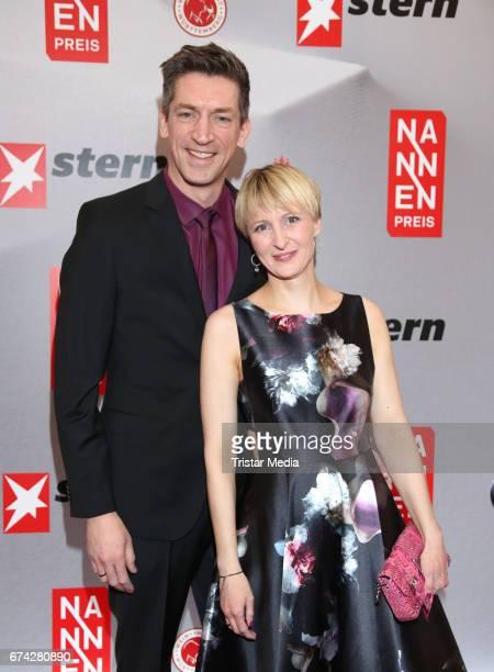 Steffen Hallschka and his wife AnnKatrin Hallaschka during the Henri Nannen Award red carpet arrivals on April 27 2017 in Hamburg Germany