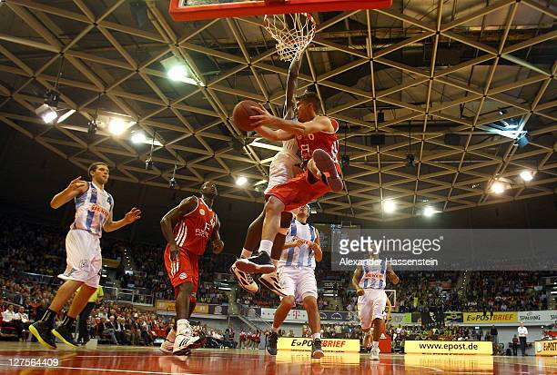 Steffen Hamann of Muenchen battles for the ball during the International Basketball friendly match between FC Bayern Muenchen and Fenerbahce Uelker...