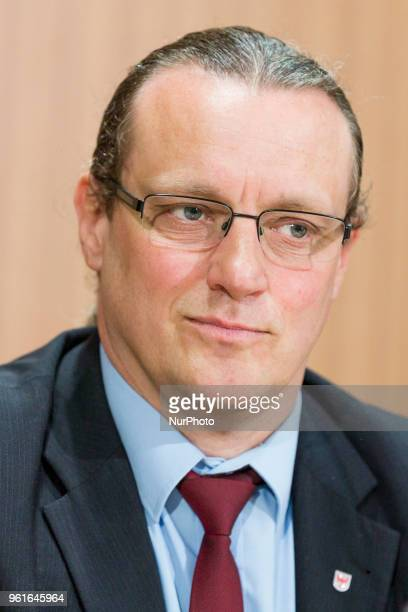 Steffen Koeniger of Antiimmigration populist Alternative fuer Deutschland party is pictured during a press conference regarding an upcoming large...