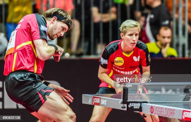 Steffen Mengel and Kristin Sibereisen of Germany in action during the Table Tennis World Championship at Messe Duesseldorf on May 30, 2017 in...