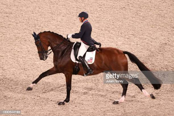 Steffen Peters of Team United States riding Suppenkasper competes in the Dressage Individual Grand Prix Qualifier on day two of the Tokyo 2020...