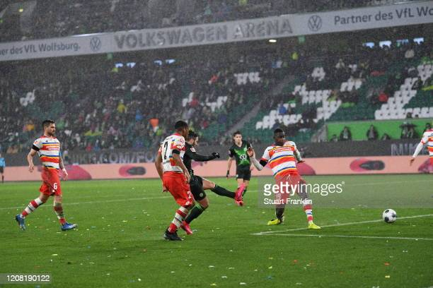 Steffen Renato of Wolfsburg scores his sides fourth goal during the Bundesliga match between VfL Wolfsburg and 1 FSV Mainz 05 at Volkswagen Arena on...