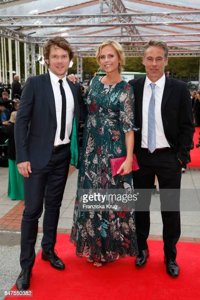 Steffen Schroeder Melanie Marschke and Marco Girnth attend the UFA 100th anniversary celebration at Palais am Funkturm on September 15 2017 in Berlin...