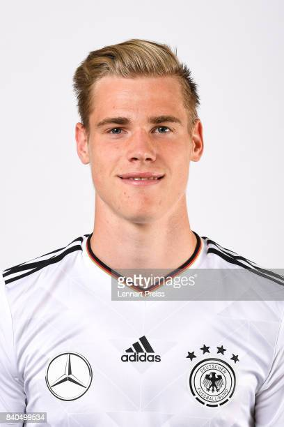 Steffen Tigges poses during the team presentation of the German U20 national football team on August 29 2017 in Herzogenaurach Germany