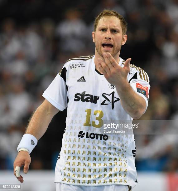 Steffen Weinhold of Kiel reacts during the EHF Champions League Quarter Final first leg match between THW Kiel and Barcelona at the Sparkasse Arena...