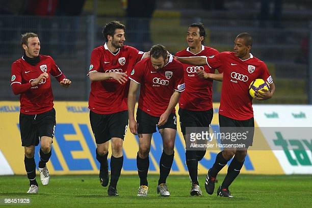 Steffen Wohlfarth of Ingolstadt celebrates scoring the second goal with his team mates during the 3.Liga match between FC Ingolstadt and 1. FC...