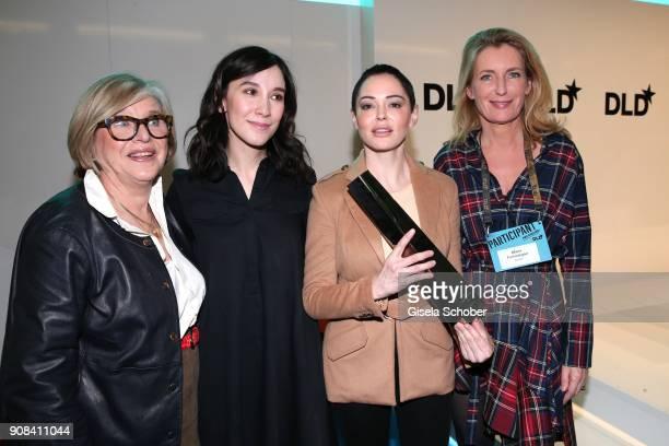 Steffi Czerny Sibell Kekilli Rose McGowan and Maria Furtwaengler during the DLD Impact Award the DLD Munich 2018 at Alte Bayerische Staatsbank on...