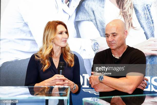 Steffi Graf and Andre Agassi attends the Longines Melbourne Boutique Launch on January 16 2019 in Melbourne Australia