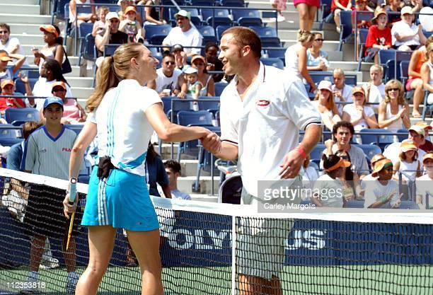 Steffi Graf and Bode Miller during 2004 US Open Arthur Ashe Kids' Day at Arthur Ashe Tennis Stadium in New York City New York United States
