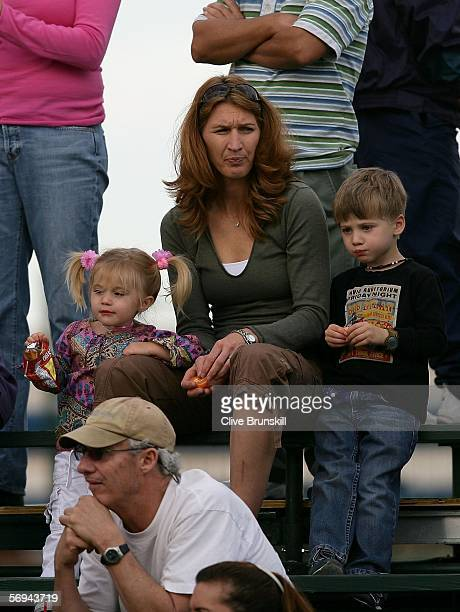 Steffi Graf and her children Jaz Elle and Jaden Gil watch qualifying for the Tennis Channel Open at Darling Tennis Center February 26 2006 in Las...