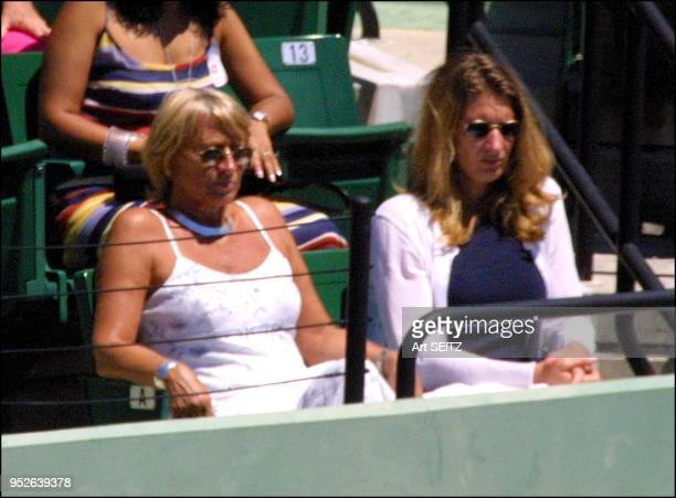 Steffi Graf and mother Heidi watch Andre Agassi play in the second set of the Ericsson Open men's final on April l 2001 at Key Biscayne Agassi...