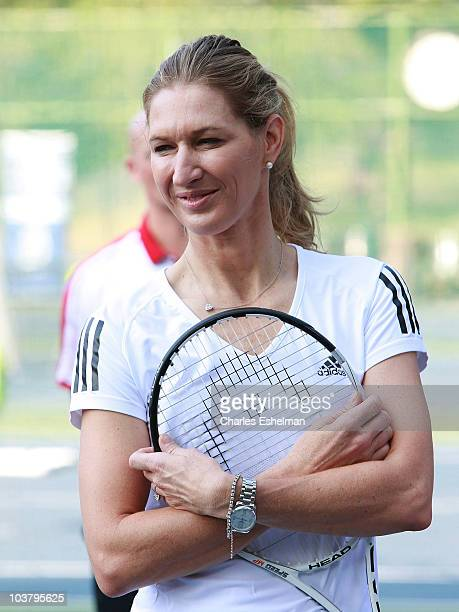 Steffi Graf former No 1 World Champion tennis player hosts the Center Court for Kids Tennis Clinic at Central Park Tennis Center on September 2 2010...