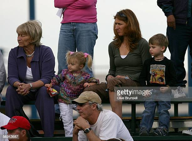 Steffi Graf her mother and Children Jaz Elle and Jaden Gil watch Qualifying for Tennis Channel Open at Darling Tennis Centre February 26 2006 in Las...